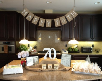 Happy 50th, 60th or 70th Birthday Burlap Banner, Photo Prop, Birthday Banner, Party Banner