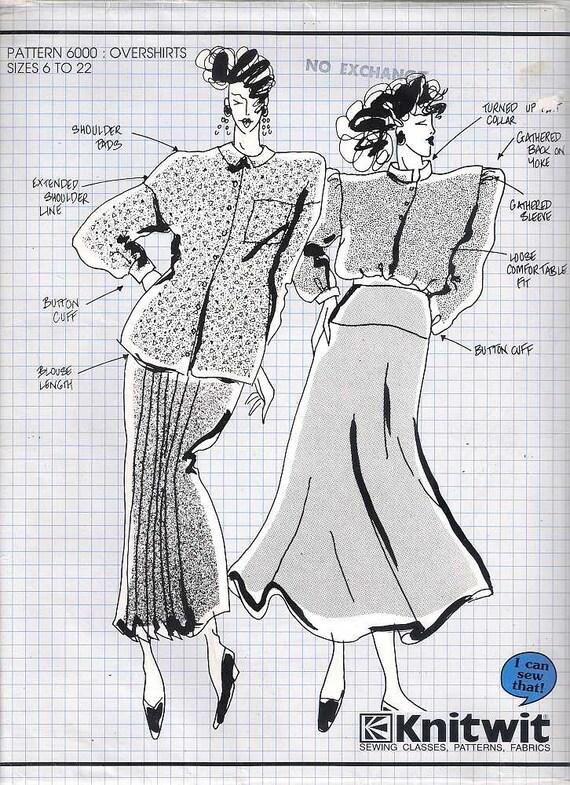Knitwit pattern 6000 overshirts sewing pattern dressmaking