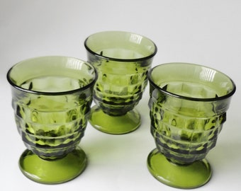 1 Set (3) VINTAGE Green Whitehall Glass Tumblers, Juice Glass Iced Tea Glass Retro Drinkware Barware Kitchenware, Wedding Bridal Shower Gift
