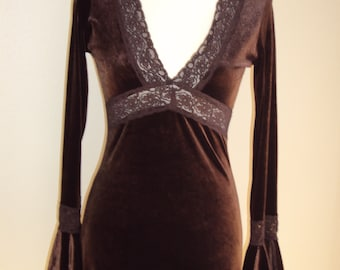 1990s Womens Chocolate Brown Stretchy Velour/Lace High Low Dress  Size S-M/Special Occasion/Graduation/Party Dresses/ 90s Form Fit Dress
