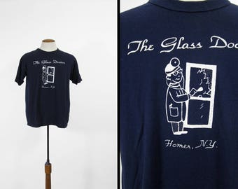Vintage Glass Doctor T-shirt Homer NY Dark Blue New York Made in USA - Medium / Large