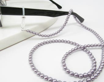 Mauve Swarovski pearl eyeglasses chain, purple eyeglass chain, reading glasses chain, eye glasses chain, eyeglasses holder, glasses necklace