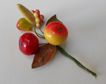 Vintage Millinery Trim-Crafting Supply-Floral Decor-Sprig of Five Lacquered Fruit from the 1950's