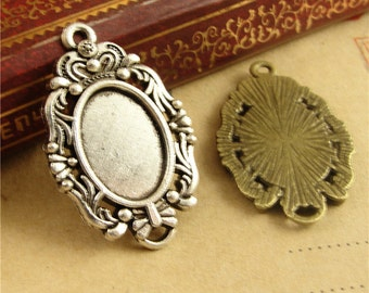 20 Pendant trays- Filigree Frame 10x14mm Oval Bezel Setting W/ ring,  Antique Bronzed/ Antique Silver available- HA1159