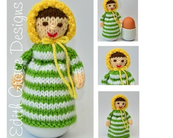 Doll Knitting Pattern - Egg Cosy - Knit Doll - Home Decor - Toy Knitting Pattern - House Warming Gift - Sewing - Doll Making