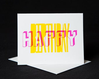 Birthday Card, Screen printed by hand