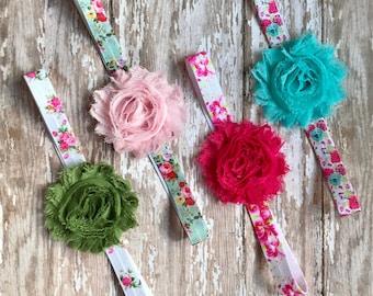 Floral Print Baby Headband: Chiffon Flowers on floral print elastic stretch headbands Newborn, Infant, Toddler, Children's, Girls