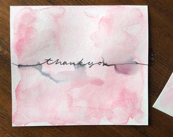 Watercolor Blot Thank You Cards  set of 6
