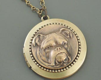 Vintage Necklace - Locket Necklace - Bulldog Dog Necklace  - Brass Necklace - Dog Jewelry - Handmade Necklace