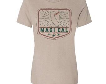 Womens Boyfriend Tee MAGI-CAL relaxed jersey T-shirt - s m l xl xxl - Hand Screen Printed - Zen Threads + Bella Canvas 6400 custom
