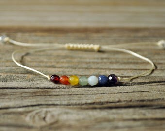 7 Chakra Bracelet, Crystal Bracelet, Intent Bracelet, Energy Bracelet, Yoga Bracelet, Meditation Bracelet, String Bracelet, Rainbow Bracelt