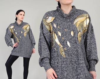 80s Oversize Sweater METALLIC Gold Avant Garde Beaded Sweater - Black and White Applique Embellished Cowl Neck Jumper - S M L