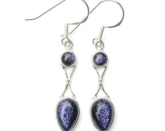 Blue Goldstone Goddess Earrings