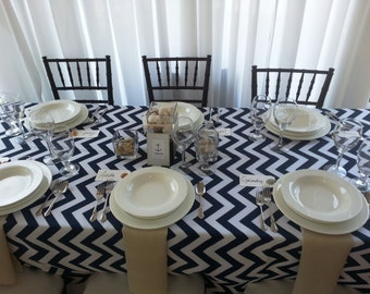 Sale Nautical Navy Blue And White Chevron Table Cloth Weddings, Birthday  Party, Dinner Party, Baby Shower Custom Sizes Available