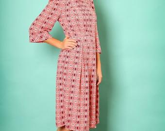 Tea length dress,Printed midi dress,50s midi dress,Graduation dress,Midi fall dress,Mid length dress,Mid length dress,Holiday dress