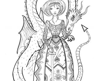 Coloring book page - Dragon Princess, black and white, LineArt Instant Download Printable,Digital Illustration