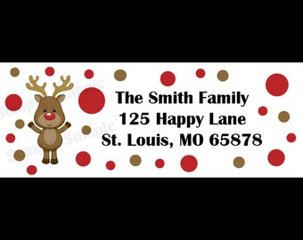 30 Personalized Christmas Return Address Labels  - Reindeer Design