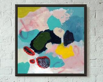 Don't Stop No. 1 of 9 // Modern Abstract Art Original 8x8 Mixed Media Acrylic Painting on Canvas Panel, Free US Shipping, Lisa Barbero