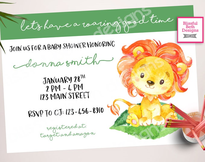 Lion Baby Shower, Roaring Good Time, Lion Baby Shower Invitation, Lion Shower, Baby Lion