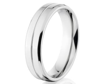 Cobalt Wedding Ring, Thin Bands, Thin Cobalt Bands: CB-5FT11G-P