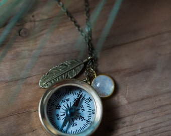 Compass Necklace - Protective Travel Talisman - Moonstone, Feather - Gold or Silver - Travel Jewelry, Layered Pendants