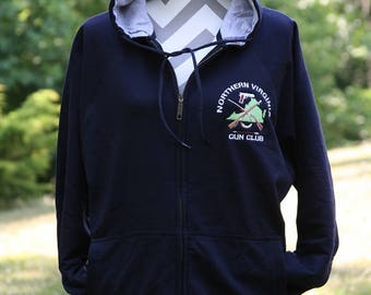 Custom Zip Front Embroidered Hoodie with your Monogram - ON CLEARANCE!! - Custom Zip Front Hoodie