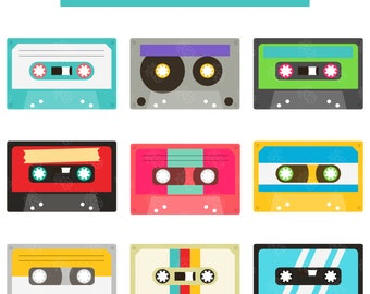 Retro Cassette Tapes Collection, Music Lover Digital Clip Art For Planner Stickers, Scrapbooking, Journal, Art Pieces