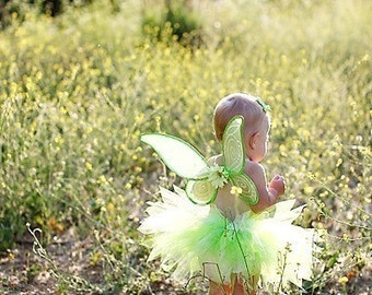 "Custom Sewn 8"" Infant Toddler Pixie Tutu, Green Tutu, Tinkerbell Halloween Costume Tutu, sizes Newborn up to 12 months, Fairy Tutu Set"