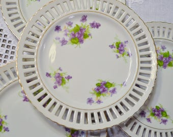 Vintage Violet Luncheon Plate Set of 4 White Purple Floral Design Made in Japan Replacement PanchosPorch