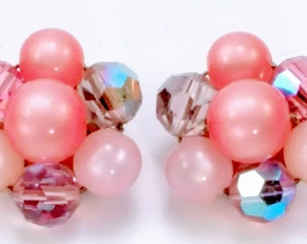 Vintage Pink Moonglow and Crystal Cluster Clip Earrings