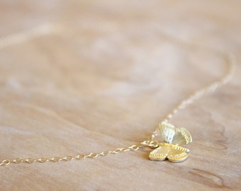 Gold Butterfly Necklace - 14k Gold Filled Necklace - Charm Necklace - Gift For Her - Thin Necklace - Gold Charm - Layering Necklace - Simple