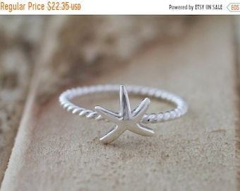 Mothers Day Sale Mermaid. Sterling Silver mini Starfish petite Midi Ring