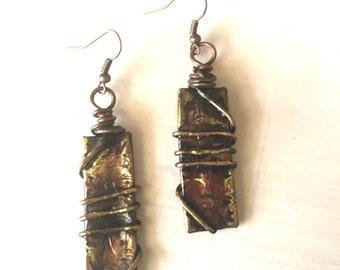 Wire Wrapped Copper Tube Earrings - Copper Dangle Earrings - Earthy Style - Textured Copper - Artisan Jewelry