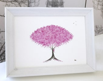Purple Blossom Painting: original framed watercolour painting, purple cherry blossom gift, framed watercolour gift!