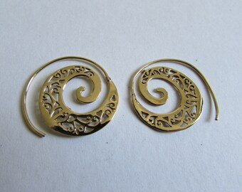 Spiral Brass Swirl Earrings handmade, Tribal Earrings, Nickel Free, Indian Jewellery, Gift boxed,Free UK postage BR1