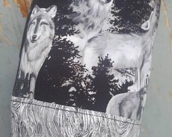 Wolf Plastic Bag Holder, Grocery Bag Dispenser, Shopping Bag Keeper, Wildlife Bag, Wolf Decor, Bag Keeper, Wolf Decor
