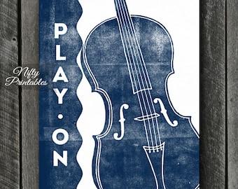 Cello Print - INSTANT DOWNLOAD Cello Art - Cello Poster - Cello Wall Art - Cello Gifts - Retro Cello Music Decor - Blue Cello - Music Prints