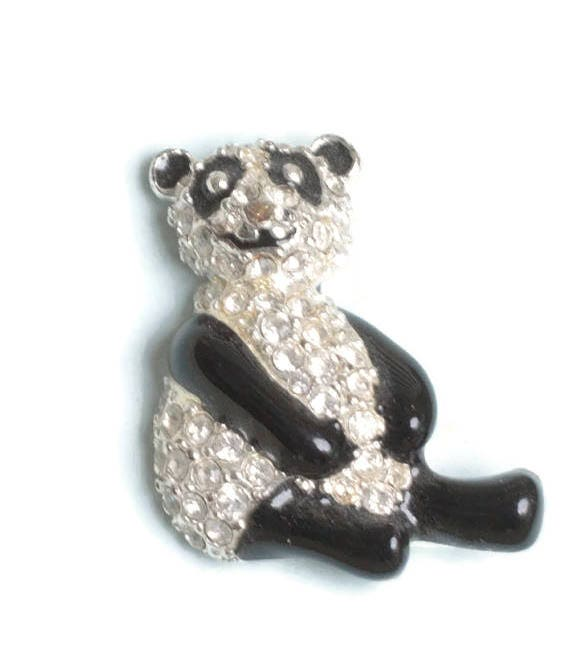Enameled and Rhinestone Panda Pin Monet Original Box Smaller Pin