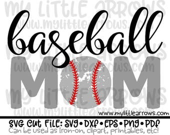 Baseball mom svg - distressed baseball svg - dxf, eps, png, baseball svg, cricut cut files, iron on decal, iron on baseball