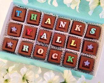 Thanks Ya'll Rock - Thank You Chocolate Gift - Unique Chocolate Thank You Gift - Hostess Gift - Chocolate Thank You - Thank you Gift