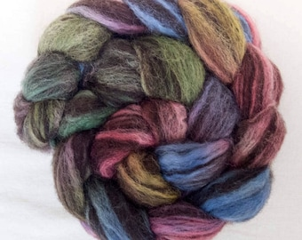 Hand dyed Corriedale, Humbug, combed top, spindling, Fibre, top, Hand painted roving, Humbug Corriedale, felting projects, handspinning,