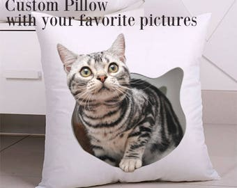 Pet Pillow, picture pillow, Custom Pet Portrait Pillow Cover, Pet Portrait Pillow, Dog Pillow, Cat Pillow, Pet Cushion, cat/dog portrait
