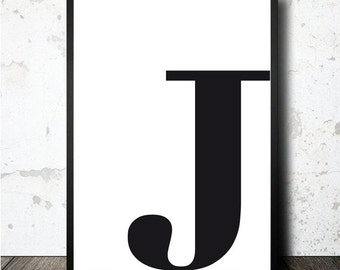 Letter J poster printable in A4. MOnogram initial print. typography letter J poster. Lamina decorativa imprimible diseño escandinavo letra J