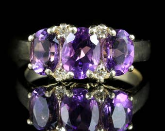 Amethyst and Diamond Trilogy Ring 9ct Gold