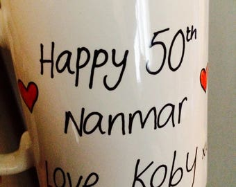 Funny novelty Personalised with any message hand decorated mug