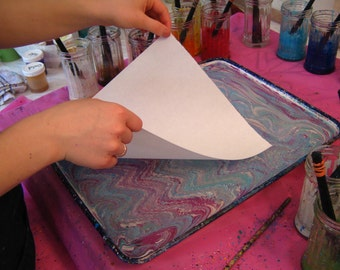 Marbling Paper Japanese Masa Paper for Marbling - 25 Sheets  White