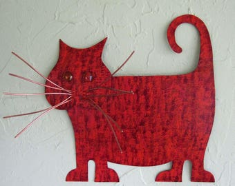 Cat Lover Art Metal Wall Sculpture Recycled Metal Kitty Wall Decor Red Orange Fat tabby Cat Indoor Outdoor Wall Art Cat Lover 13 x 13