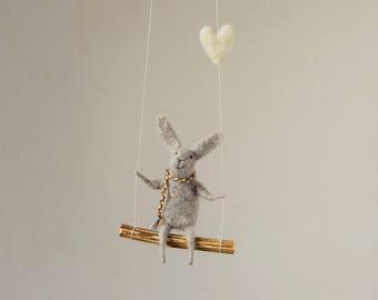 Swinging Bunny, Needle Felted Bunny, Nursery Decoration, Baby Crib Mobile, Hanging Bunny, Baby Mobile