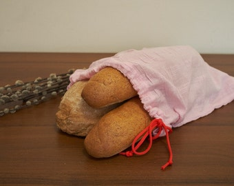 Natural Linen Bag, Bread Bag, Pink Linen Bag