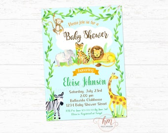 Jungle Safari Baby Shower Invitation, Wild Baby Shower, It's a Boy Invitation, DIGITLA FILE HMD239